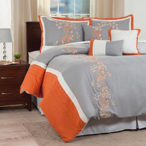 Orange Embroidered Comforter Set