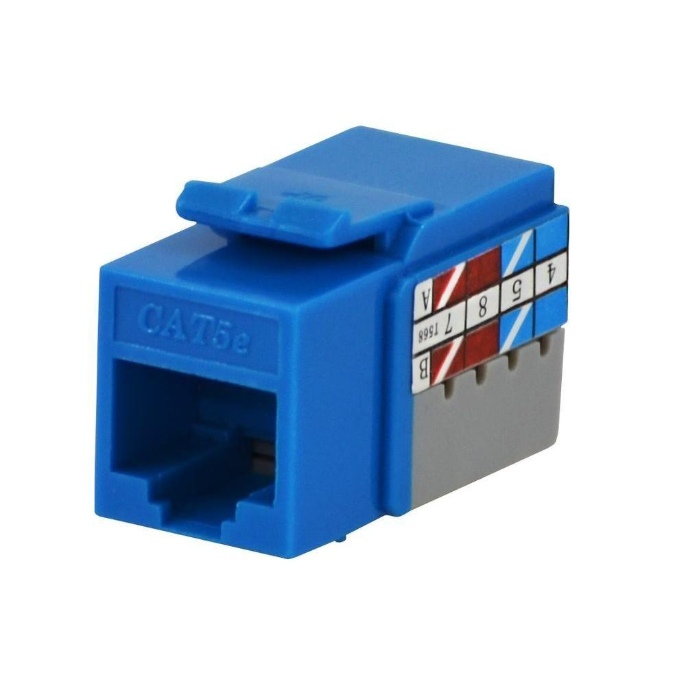 hight resolution of commercial electric category 5e jack blue