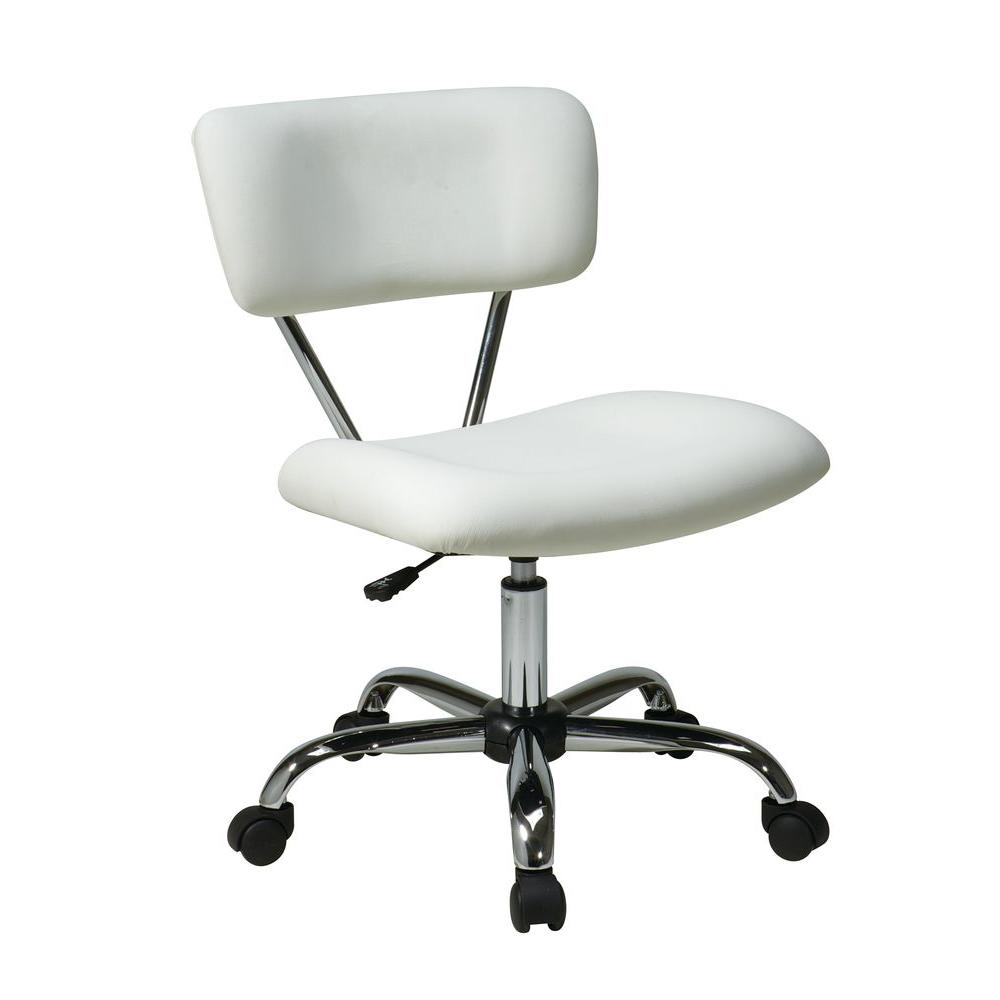 office chair customer reviews cherry dining chairs modern ave six vista white vinyl st181 v11 the home depot