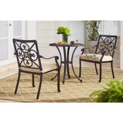 Bistro Chairs Dining Room High Quality Folding Lawn Hampton Bay Ainsworth 3 Piece Aluminum Outdoor Set With Oatmeal Cushions