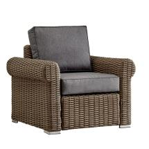 Rolled Arm Wicker Outdoor Patio Lounge Chair