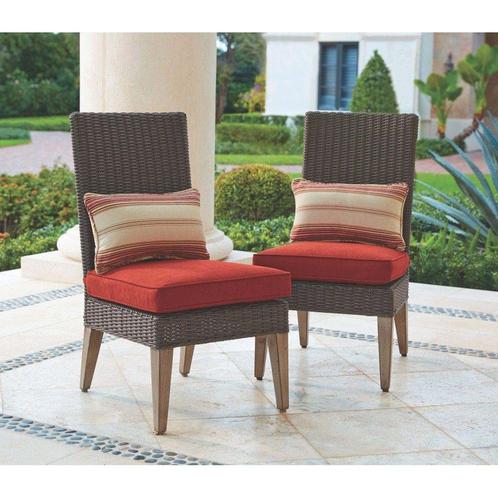 all weather wicker outdoor chairs ikea floor chair home decorators collection naples brown armless dining with spice cushions
