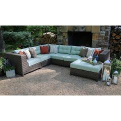 Green Cushions Living Room Bench With Storage Ae Outdoor Dawson 7 Piece Patio Sectional Seating Set Sunbrella Fabric Spa