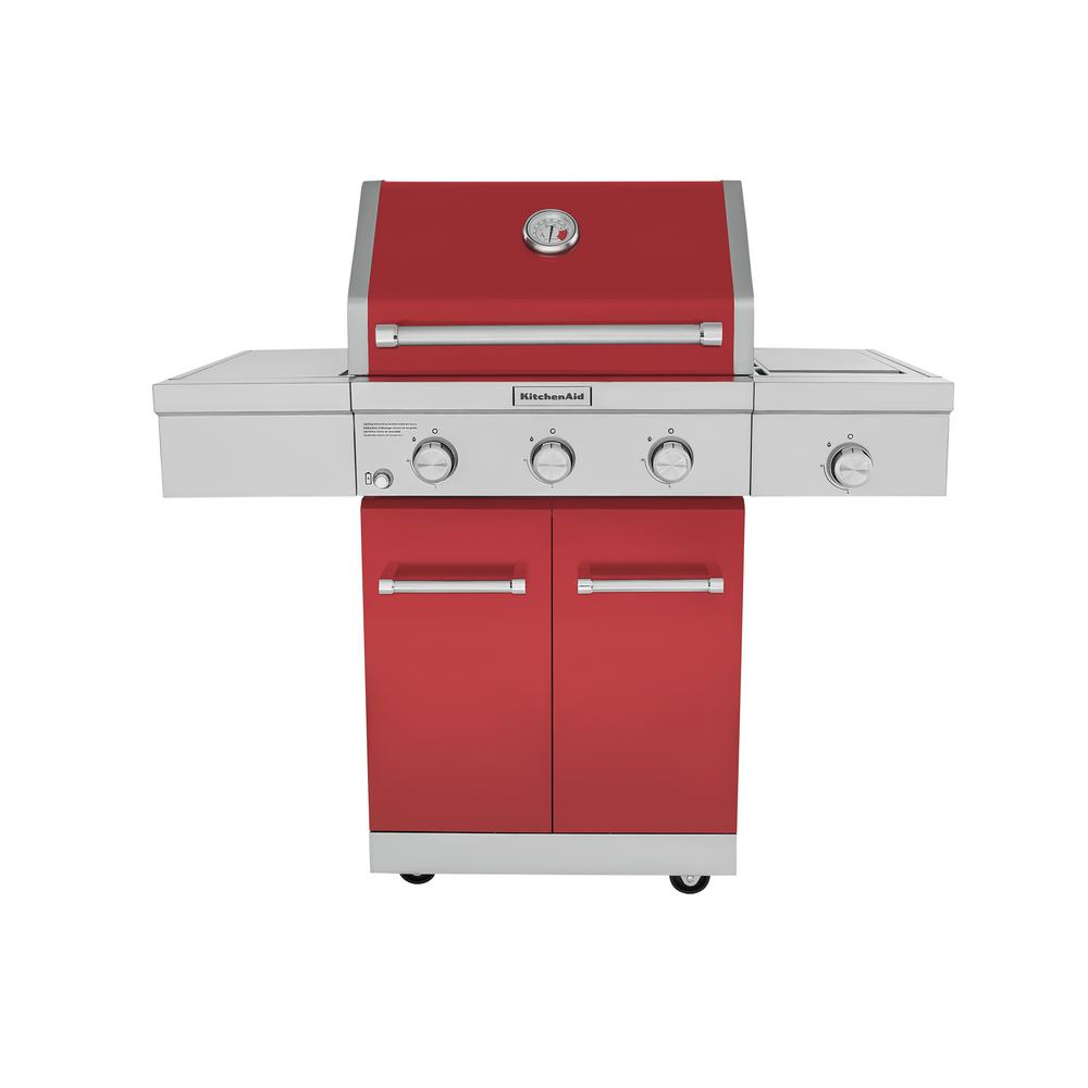 kitchen aid gas grills sink clog kitchenaid 3 burner propane grill in red with ceramic sear side