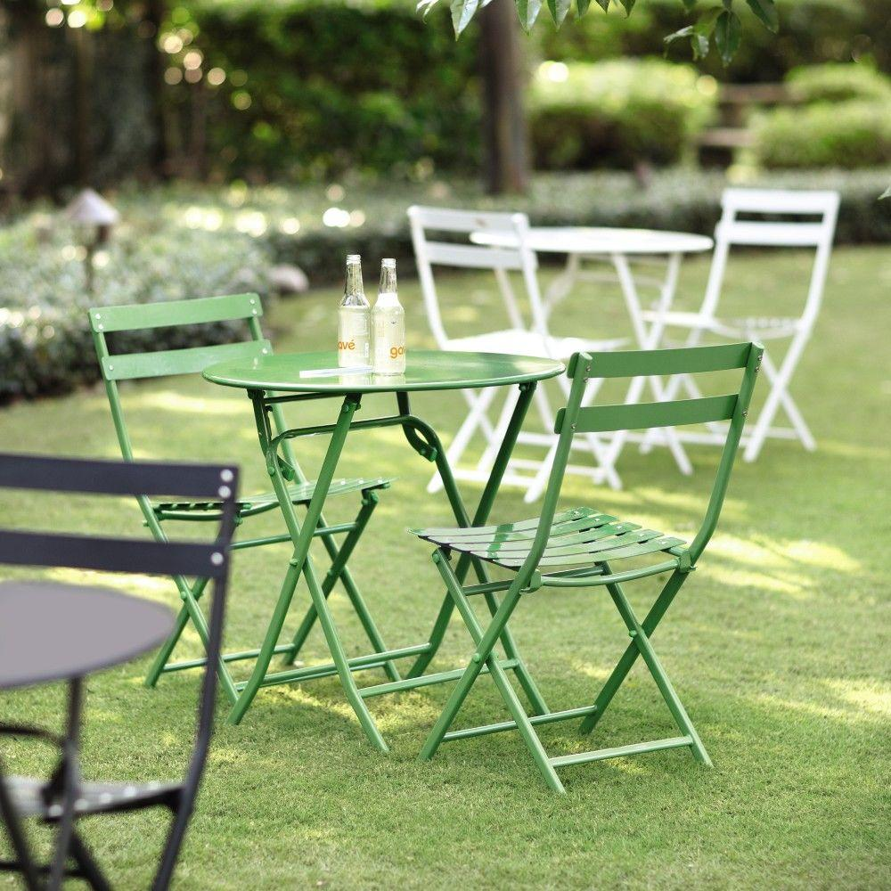 patio bistro table and chairs dining room chair upholstery fabric 3 piece green set garden backyard outdoor furniture