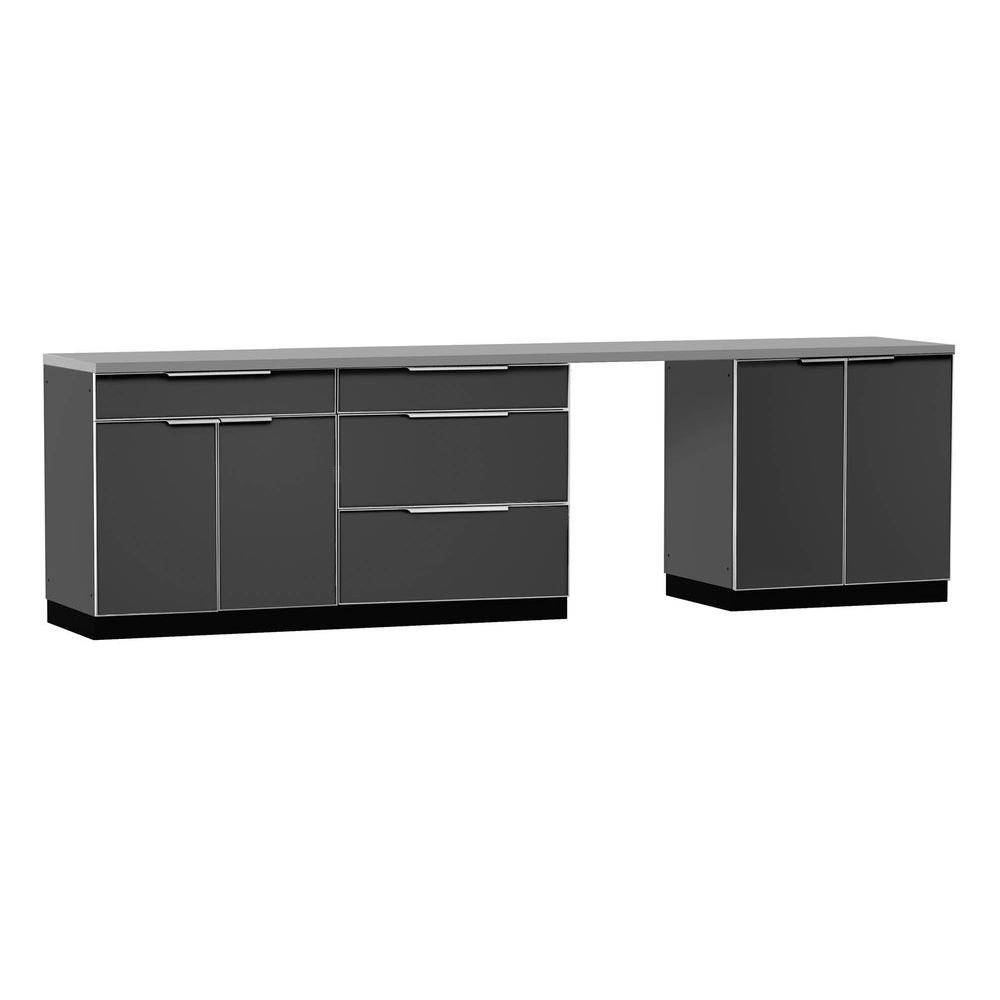 kitchen cabinets set what is the average cost of a remodel newage products aluminum slate 5 piece 120x360x24 in outdoor cabinet 65250 home depot