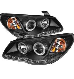 hyundai elantra 07 10 projector headlights led halo drl black high h1 included low h7 included  [ 1000 x 1000 Pixel ]