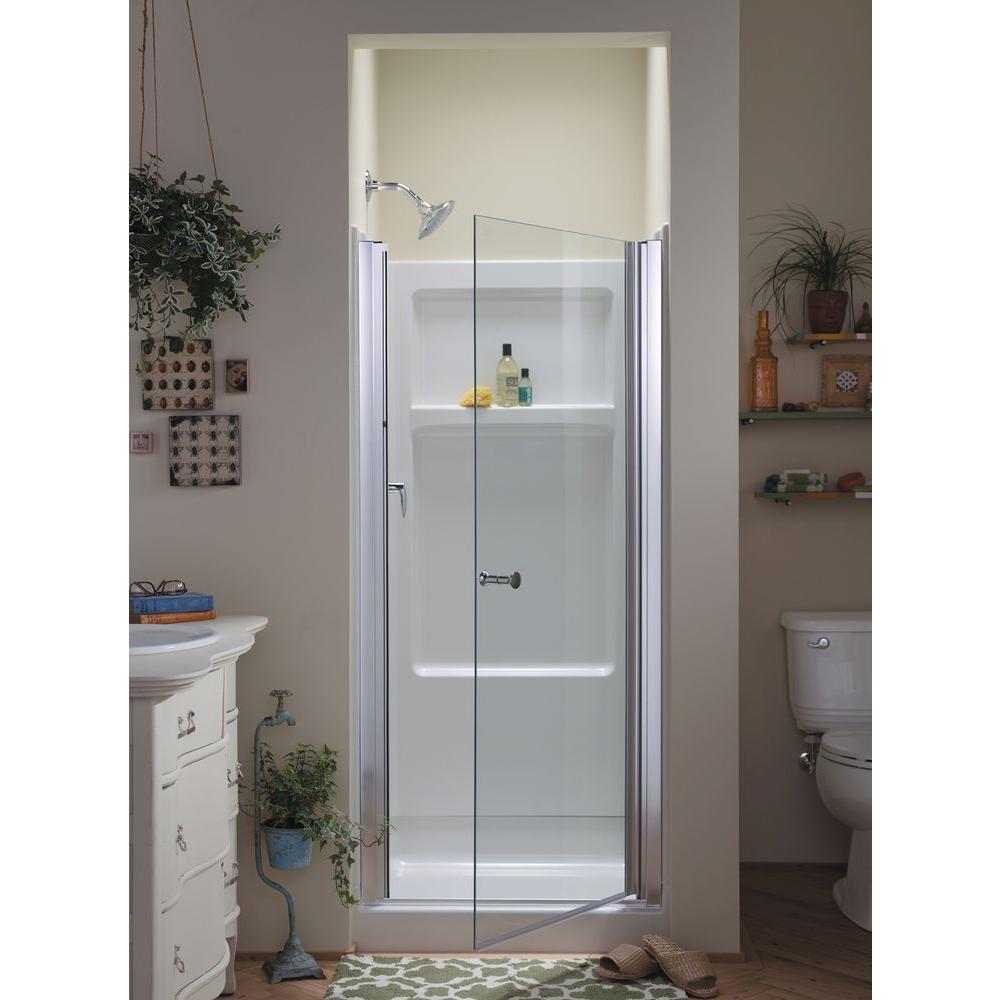 STERLING Finesse 3014 in x 6512 in SemiFrameless Pivot Shower Door in Silver with Handle