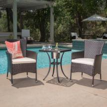 Noble House Ava Brown 3-piece Aluminum And Wicker Square