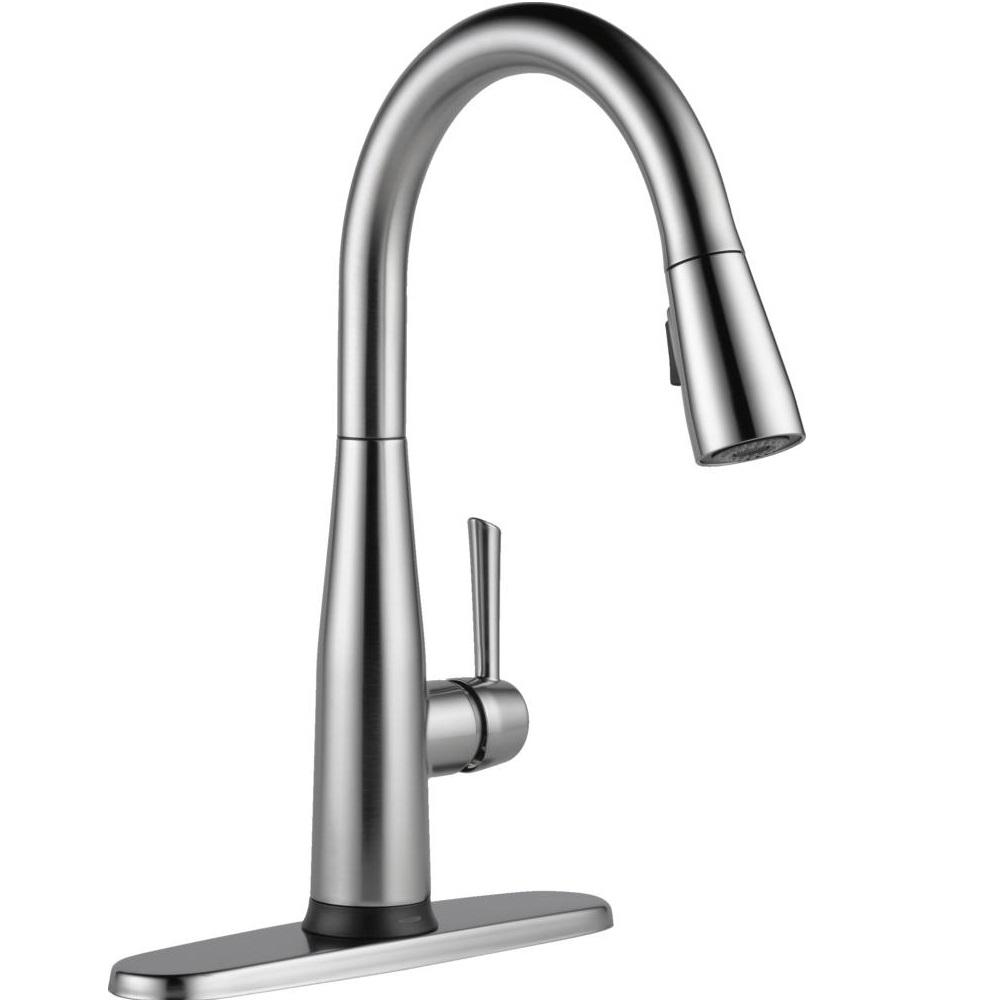 kitchen sink faucets labels delta essa touch2o technology single handle pull down sprayer faucet with magnatite docking