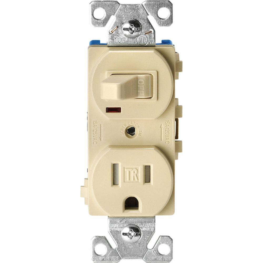 combination switch wiring diagram john deere l120 eaton 15 amp tamper resistant single pole toggle and 2 receptacle ivory