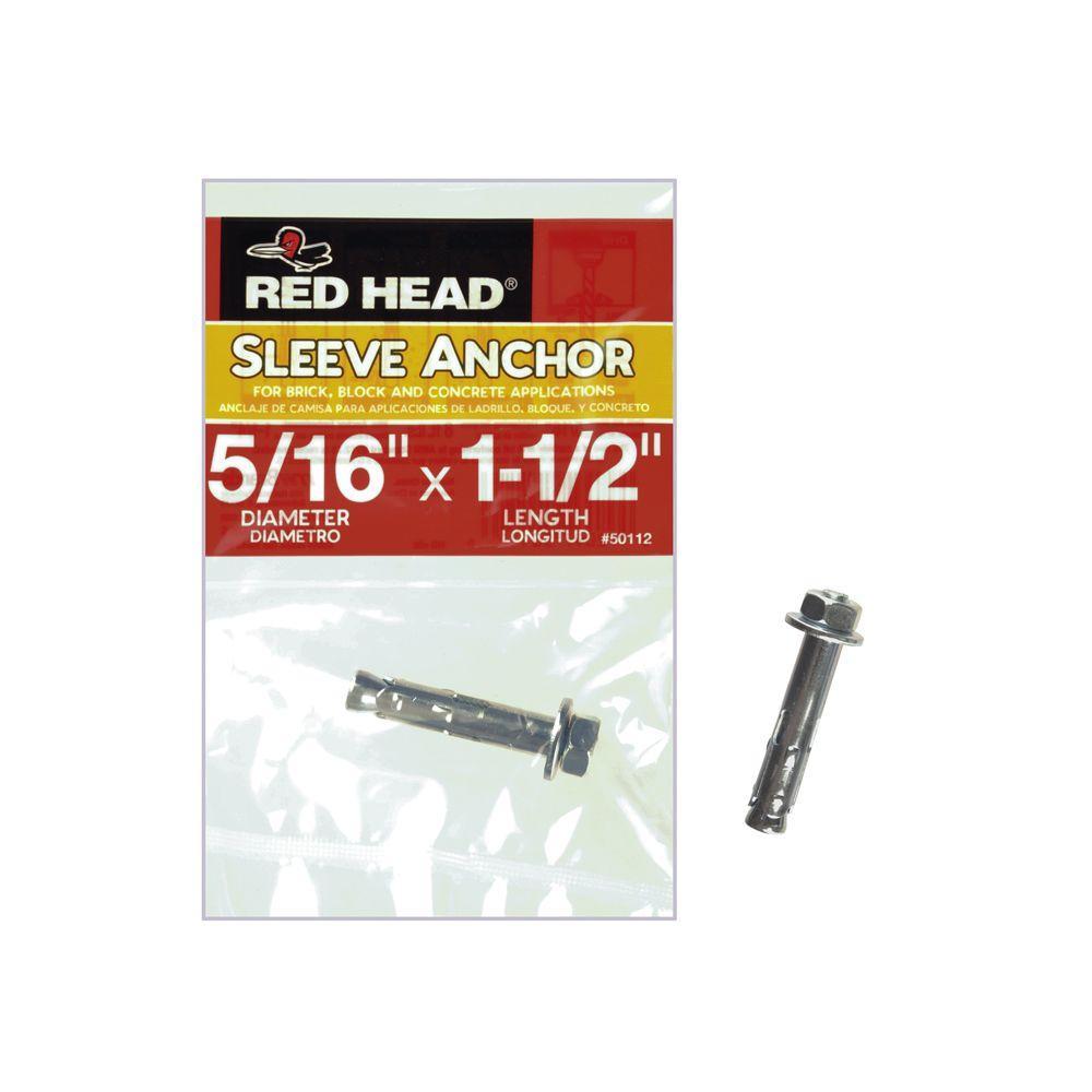 Red Head 516 In X 1 12 In Zinc Plated Steel Hex Head