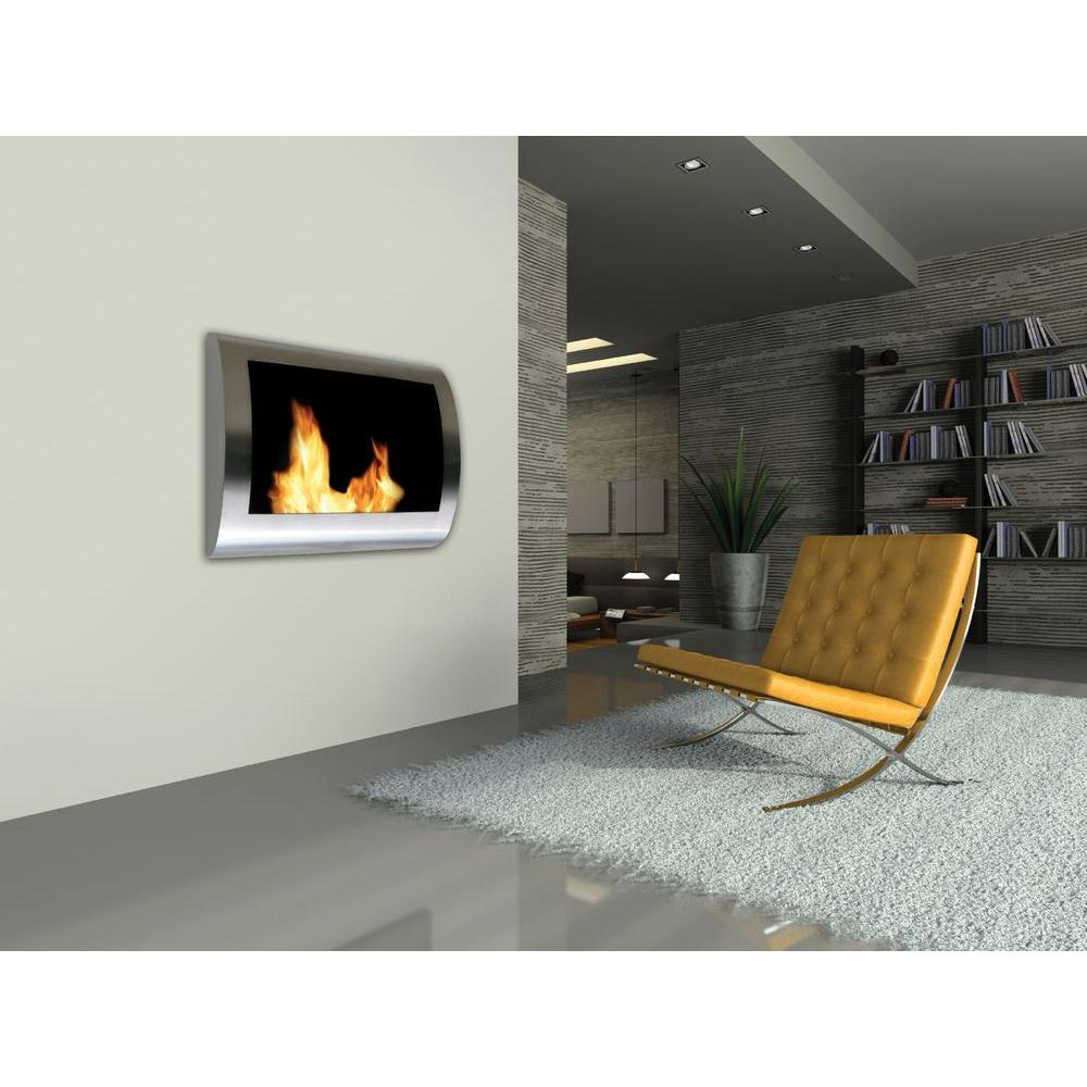 Anywhere Fireplace Chelsea 28 in WallMount VentFree Ethanol Fireplace in Stainless Steel