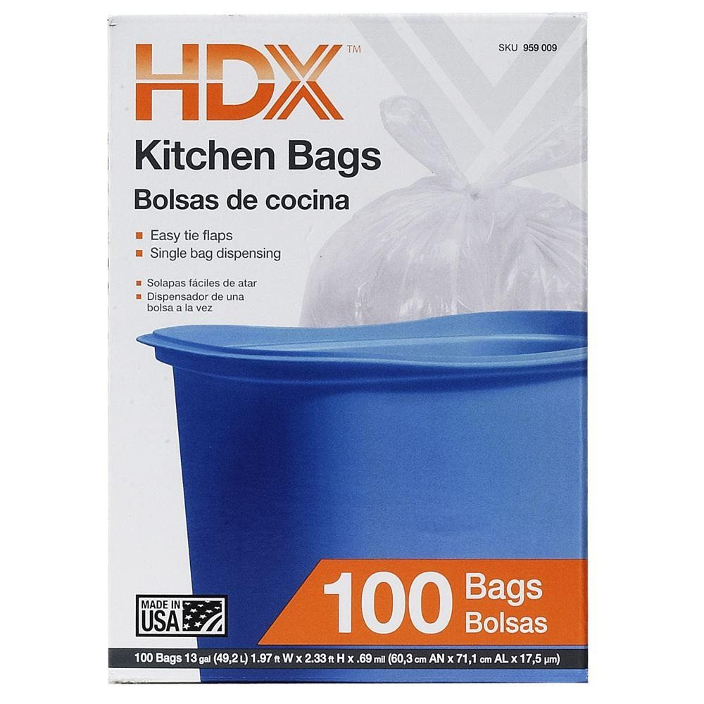 kitchen bags small outdoor ideas hdx 13 gal flap tie white trash 100 count 959009