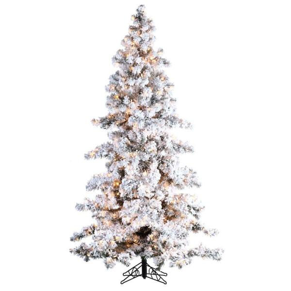 Sterling 75 ft PreLit Heavy Flocked White Spruce