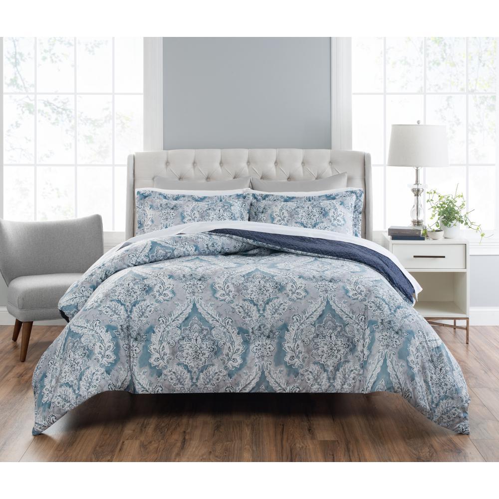 Nicole Miller Colletta 3Piece Printed BlueMulti King Comforter SetKNMCLT336  The Home Depot