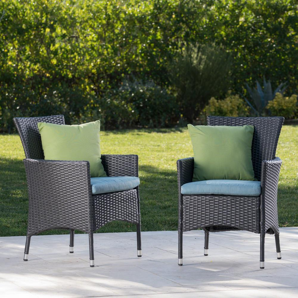 Wicker Outdoor Dining Chairs Noble House Malta Gray Wicker Outdoor Dining Chairs With Teal Cushions 2 Pack