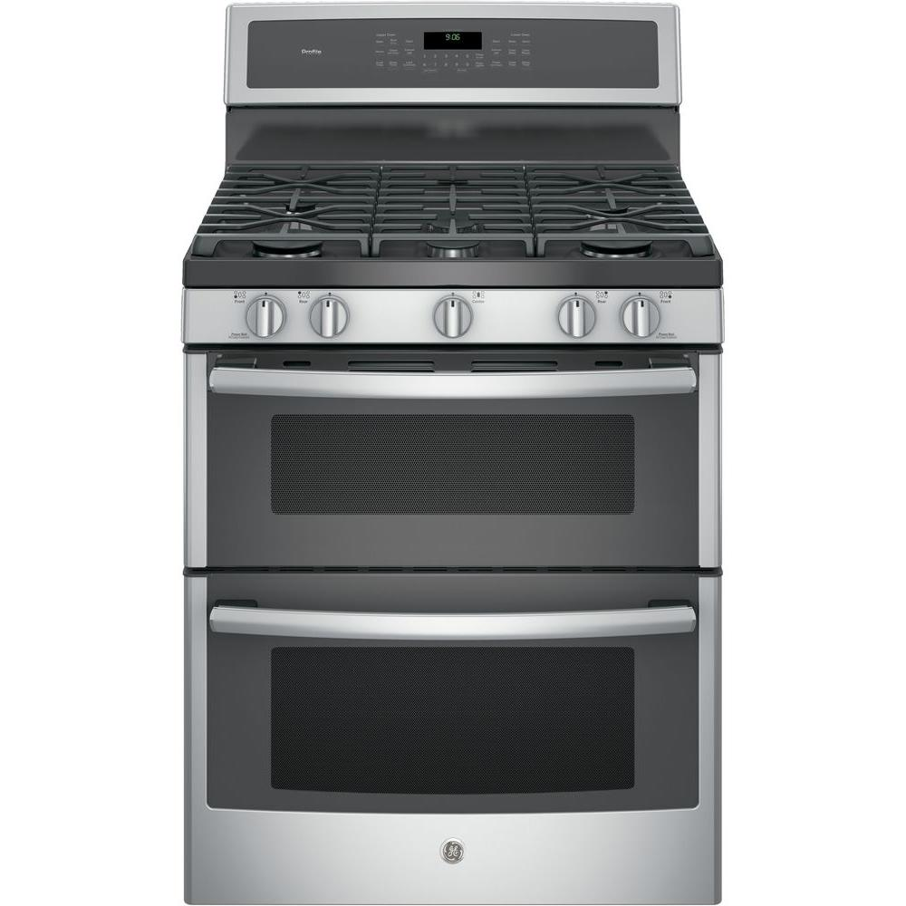 medium resolution of ge profile 30 in 6 8 cu ft double oven gas range with self