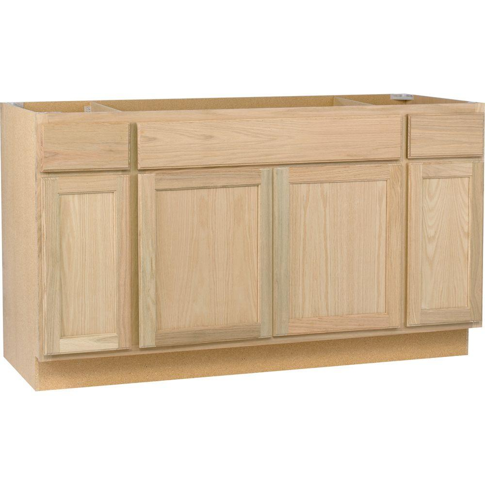 kitchen base cabinet updated kitchens assembled 60x34 5x24 in sink unfinished oak store sku 369062