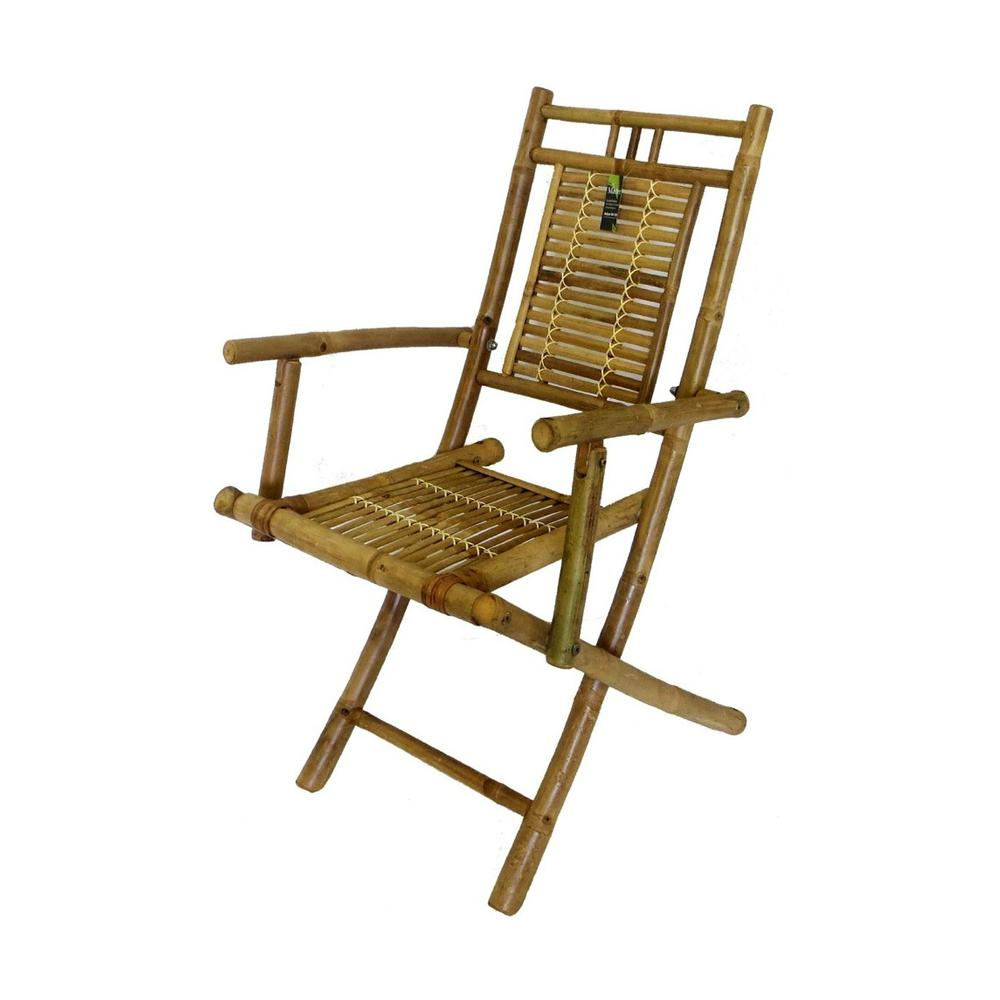 Bamboo Chairs Mgp 24 In L X 22 In W X 37 In H Bamboo Folding Arm Chair Set Of 2