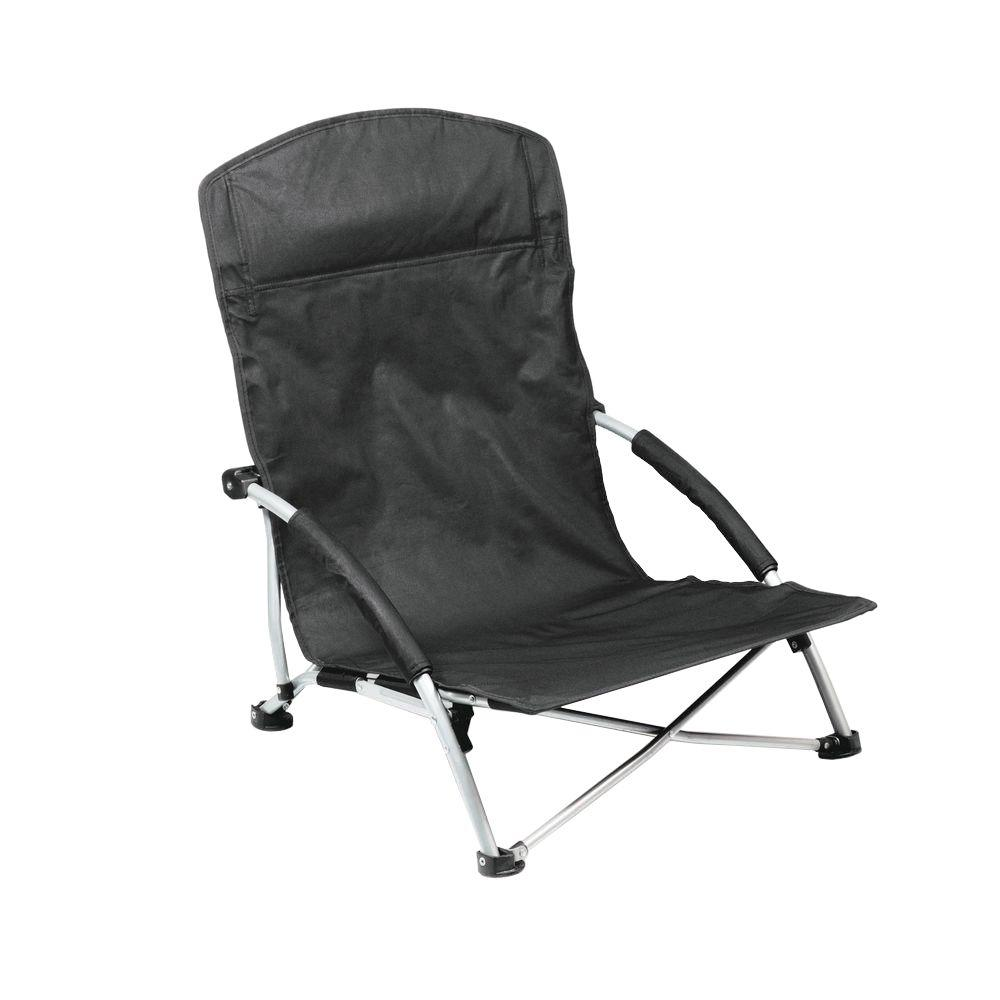 Low Folding Beach Chair Picnic Time Black Tranquility Portable Beach Patio Chair