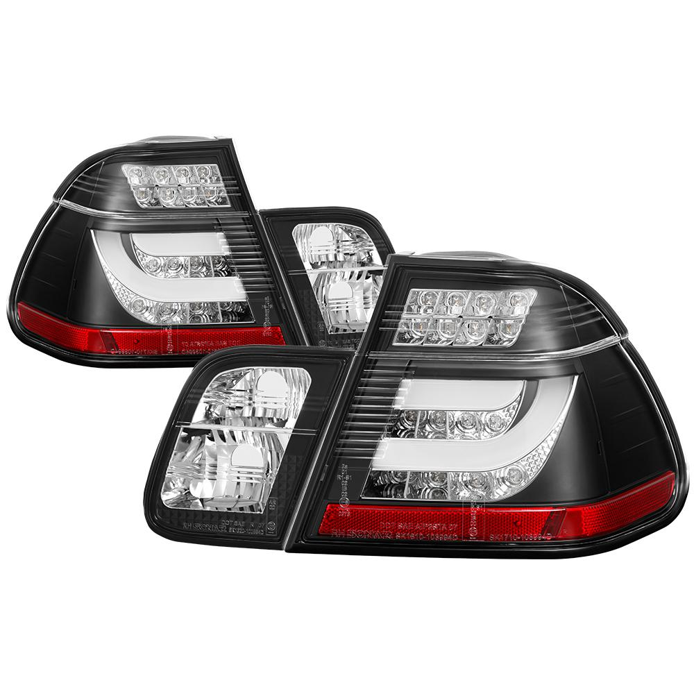 medium resolution of bmw e46 3 series 02 05 4dr light bar style led tail lights black