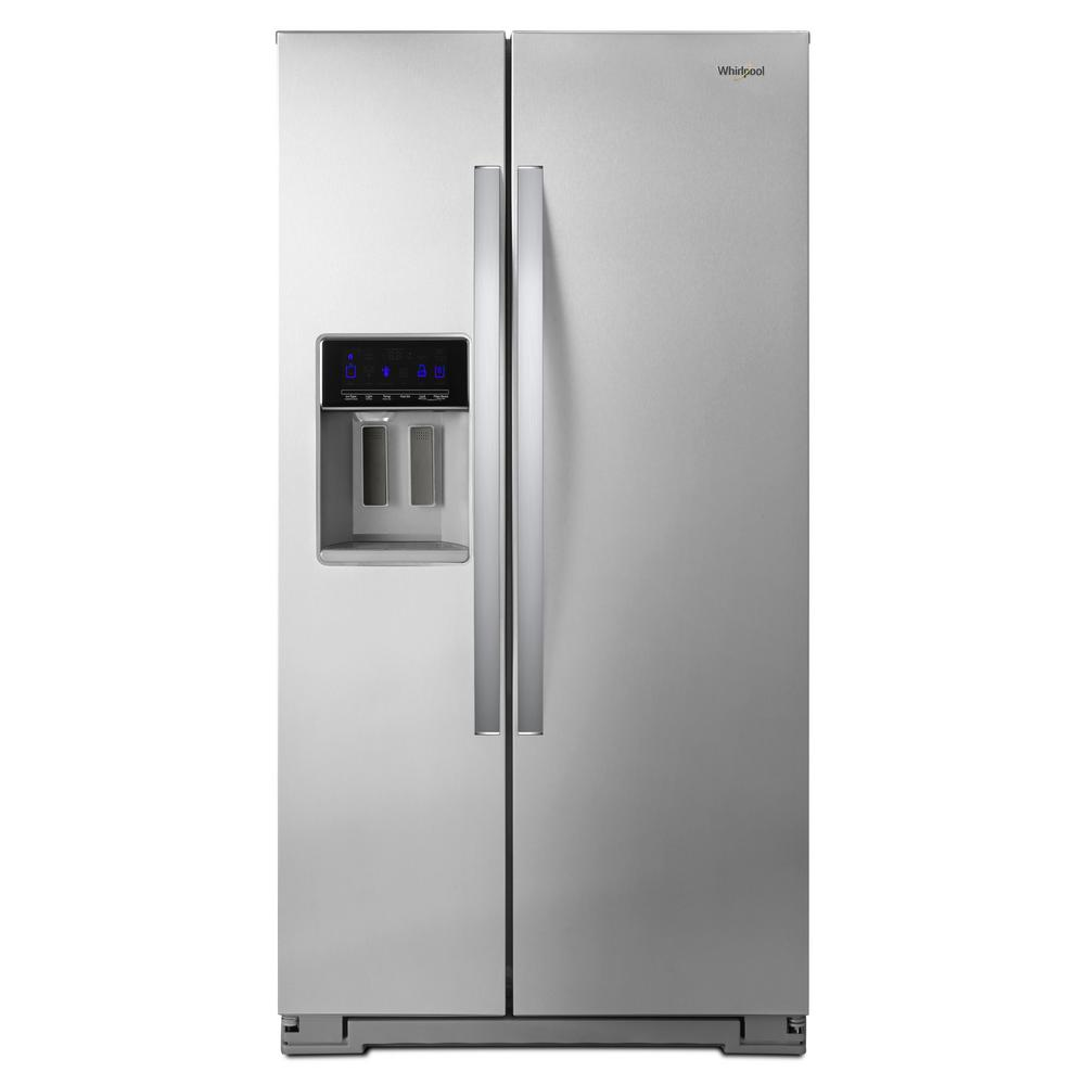 hight resolution of whirlpool 21 cu ft side by side refrigerator in fingerprint resistant stainless steel