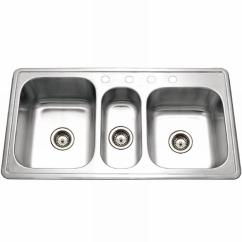 Triple Kitchen Sink Clogged Drain Houzer Premiere Gourmet Series Drop In Stainless Steel 41 4 Hole