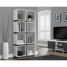 Monarch Specialties White And Grey Open Bookcase- 7076