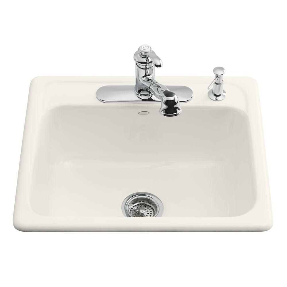kohler cast iron kitchen sink size for mayfield drop in 25 3 hole single bowl