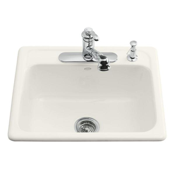 Kohler Mayfield Drop-in Cast-iron 25 In. 3-hole Single Bowl Kitchen Sink In Biscuit-5964-3-96