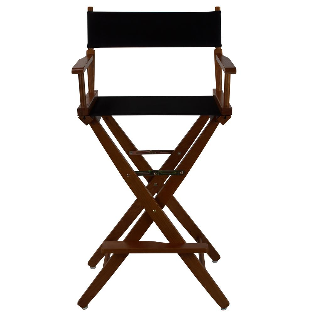 Black Directors Chair American Trails 30 In Extra Wide Mission Oak Wood Frame Black Canvas Seat Folding Directors Chair