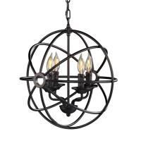 Tatum 4-Light Matte Black Fixed Globe Pendant Lamp-HD88180 ...