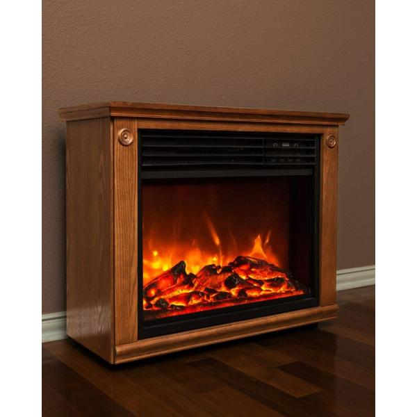 Lifesmart Life Zone Series 29 In. Infrared Electric Fireplace In Brown Mantle Surround With