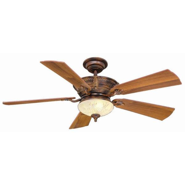 Hampton Bay Bercello Estates 52 In. Led Indoor Volterra Bronze Ceiling Fan With Light Kit And