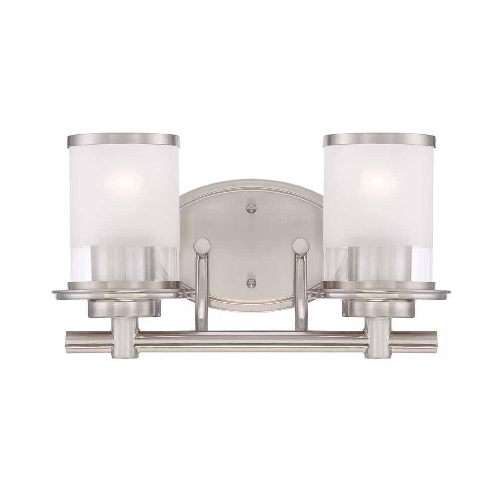 medium resolution of hampton bay 2 light brushed nickel vanity light with clear and sand glass shades