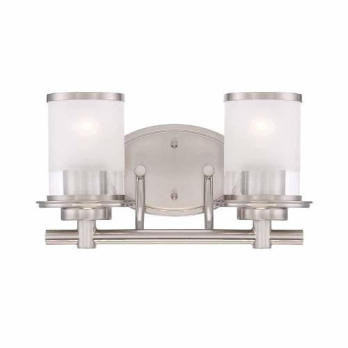 small resolution of hampton bay 2 light brushed nickel vanity light with clear and sand glass shades