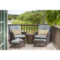 Hampton Bay Blue Hill 5-Piece Patio Conversation Set with ...