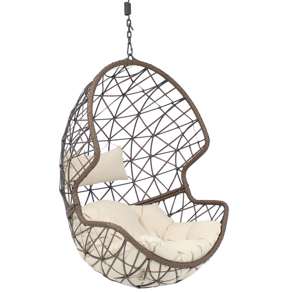Egg Wicker Chairs Outdoor Sunnydaze Decor Danielle Resin Wicker Indoor Outdoor Hanging Egg Patio Lounge Chair With Beige Cushions