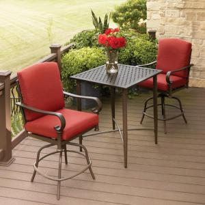 dining chair covers home depot heywood wakefield chairs hampton bay oak cliff 3-piece metal outdoor balcony height bistro set with chili cushions-176 ...