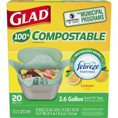 Glad Kitchen Bags Refacing Cabinets Before And After 2 6 Gal Compostable Lemon Odor Shield Trash 1258778797