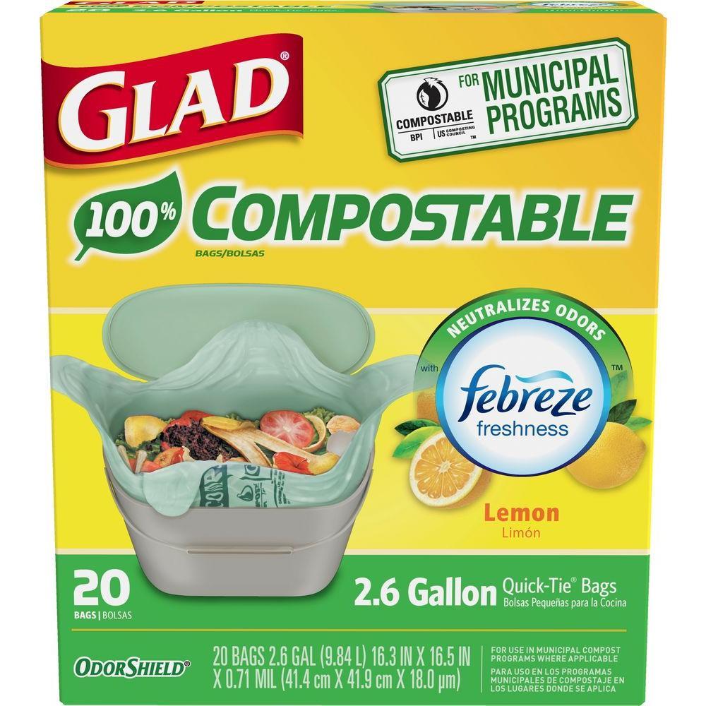 kitchen bags tile countertops glad 2 6 gal compostable lemon odor shield trash 1258778797