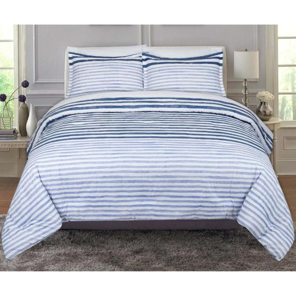 Queen Comforter Set Layered Paint Stripes Plaids Full Machine Washable Polyester 5060512522730