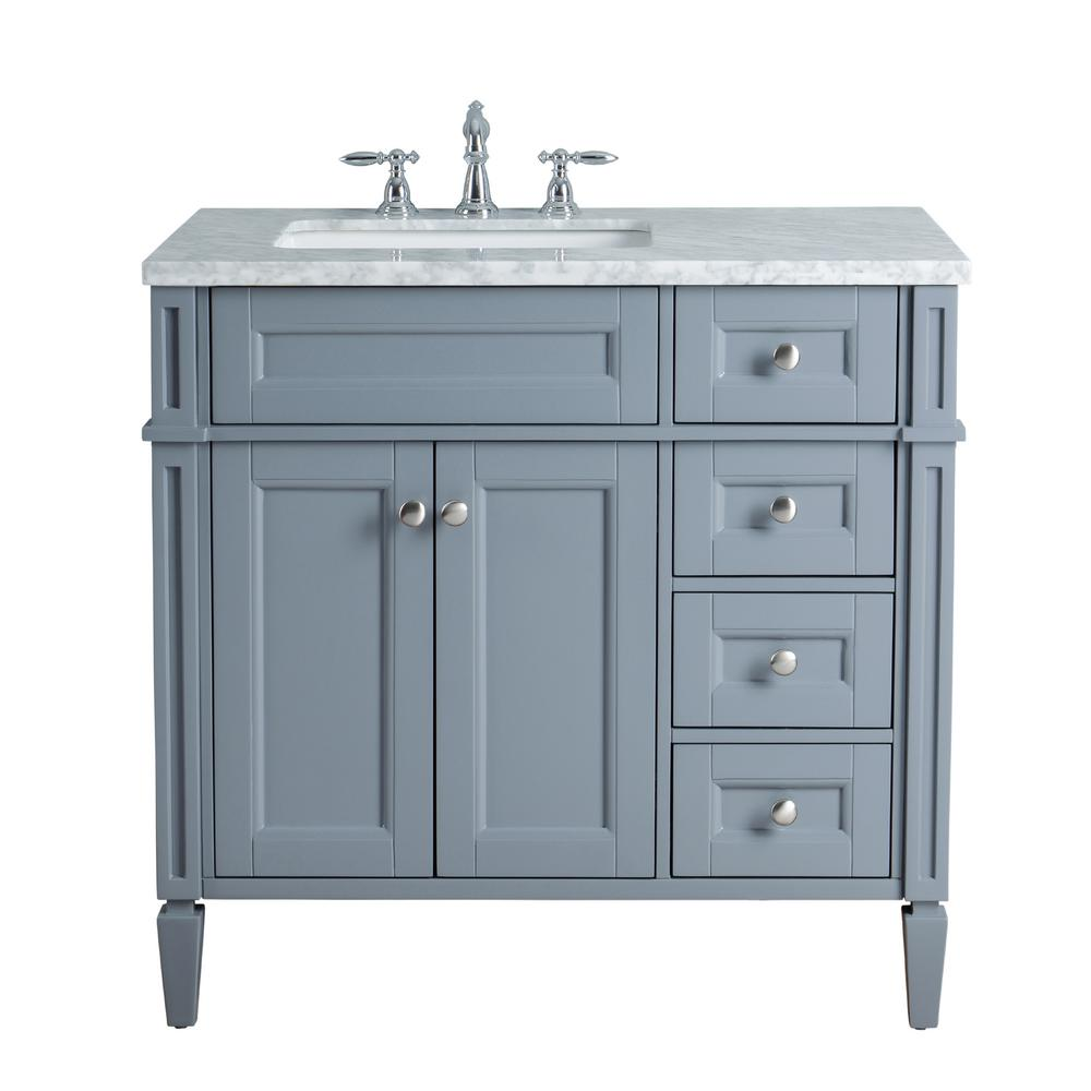 Stufurhome Anastasia French 36 in Grey Single Sink