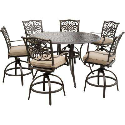 outdoor bar table and chairs chair covers at big lots height patio dining sets furniture the home depot traditions 7 piece aluminum