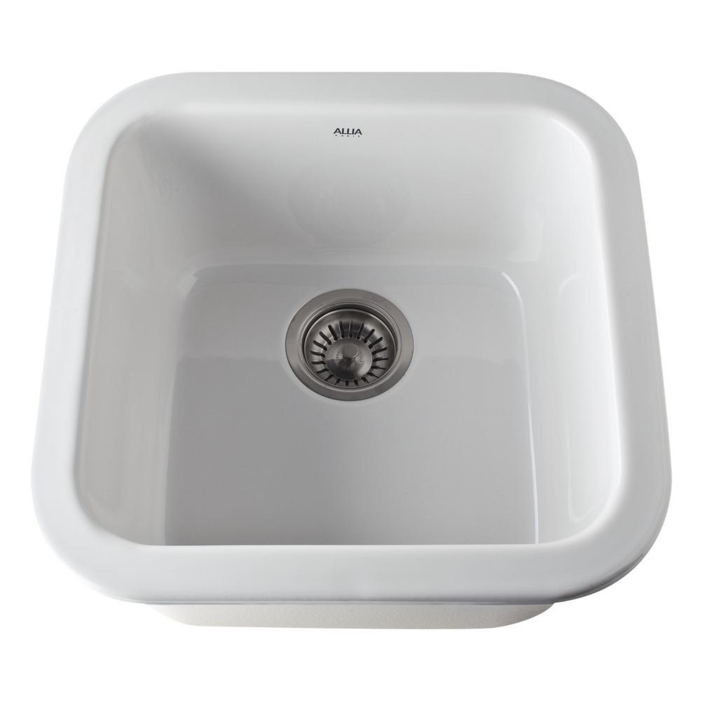 rohl kitchen sinks sink drain gasket allia dual mount fireclay 18 in single bowl white