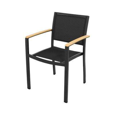 black patio chairs old barber chair textured plastique sling aluminum outdoor dining bayline all weather plastic arm in