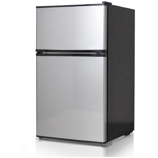Midea 3.1 Cu. Ft. Double Door Mini Refrigerator Freezer In Stainless Steel-whd-113fss1