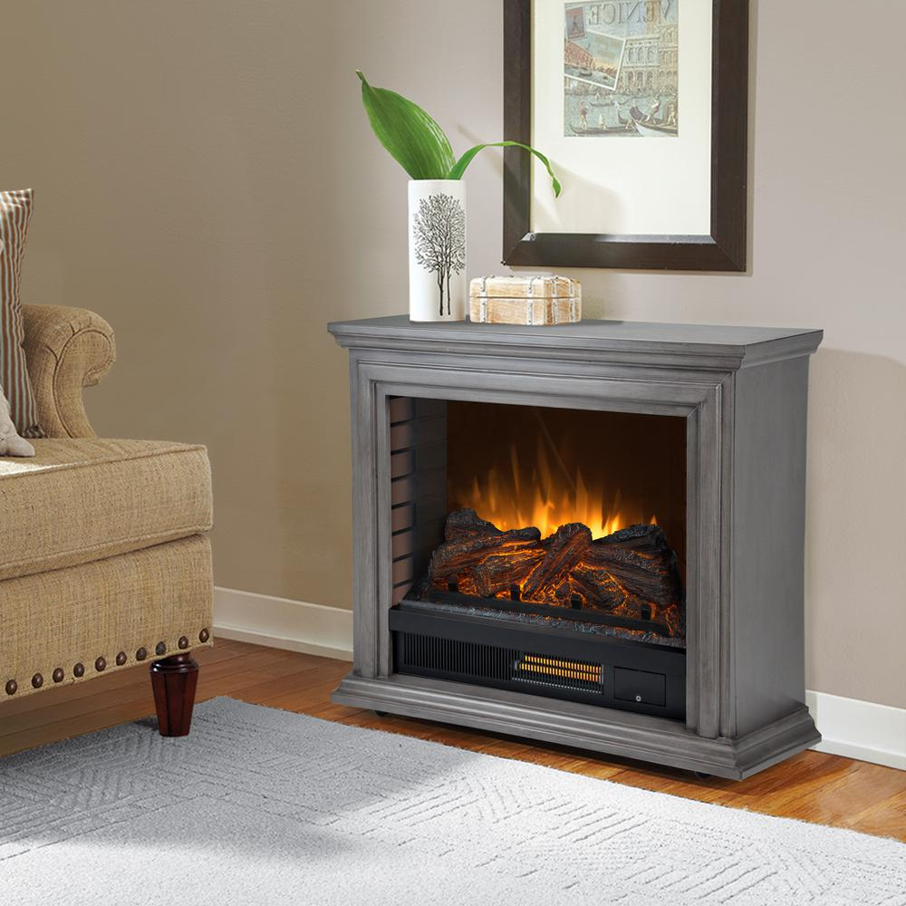 Pleasant Hearth Sheridan 32 in Freestanding Mobile Infrared Electric Fireplace in Dark