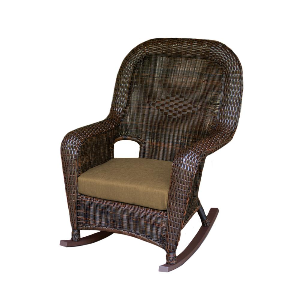 Wicker Rocking Chair Tortuga Outdoor Sea Pines Java Wicker Outdoor Rocking Chair With Rave Sahara Cushion